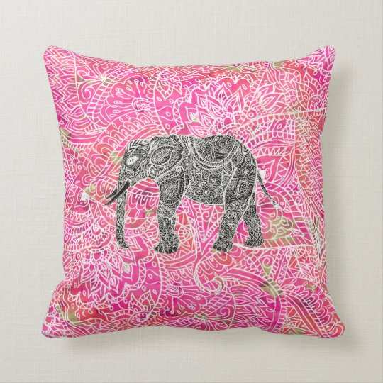 Pink Tribal Paisley Elephant Henna Pattern Throw Pillow