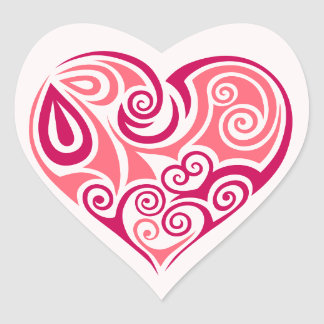 Pink tribal tattoo heart symbol girly love art heart sticker