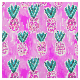 Pink Tribal Watercolor Pineapple Pattern Fabric