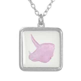 Pink Triceratops Head Silver Plated Necklace