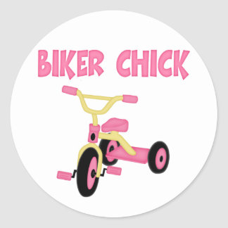 Pink Tricycle Biker Chick Classic Round Sticker