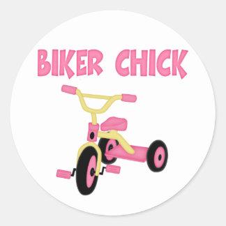 Pink Tricycle Biker Chick Round Sticker