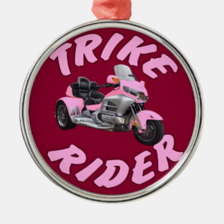 Pink Trike Rider Silver-Colored Round Ornament