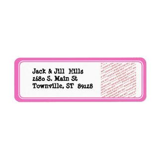Pink Trimmed Border Template Return Address Label