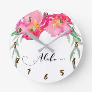 Pink Tropical Floral Flowers Aloha Chic Round Clock