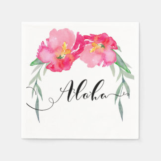 Pink Tropical Green Leaf Vine Floral Aloha Party Paper Napkins