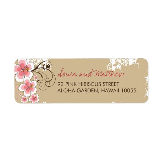Pink Tropical Hibiscus Chic Wedding Address Labels