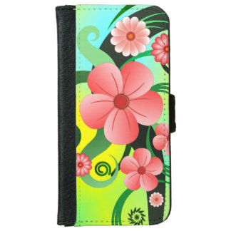 Pink Tropical Hibiscus Floral iPhone 6 6S Wallet