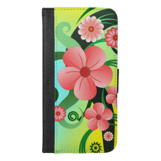 Pink Tropical Hibiscus Floral iPhone 6 Plus Folio