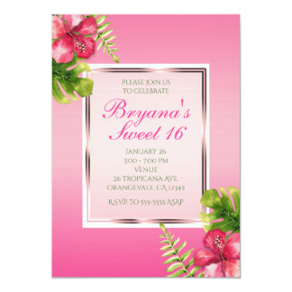 Pink Tropical Hibiscus & Leaves Party Invitations
