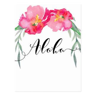Pink Tropical Leaf Floral Aloha Save the Date Postcard