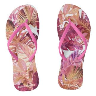 Pink Tropical Leaf Pattern Flip Flops