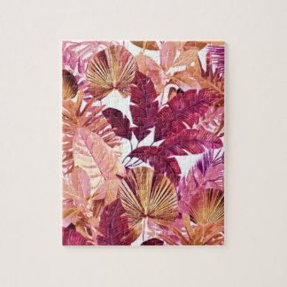 Pink Tropical Leaf Pattern Puzzle