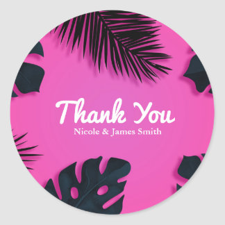 Pink Tropical Palm Leaves Party Luau Favor Classic Round Sticker