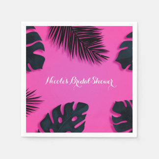 Pink Tropical Palm Leaves Party Luau Summer Chic Napkin