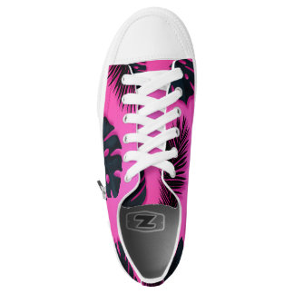 Pink Tropical Palm Tree Leaves Summer Fun Bright Low-Top Sneakers
