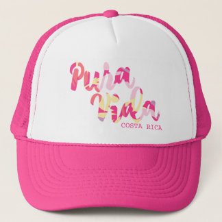 """Pink Tropical """"Pura Vida"""" Costa Rica Souvenir Trucker Hat"""