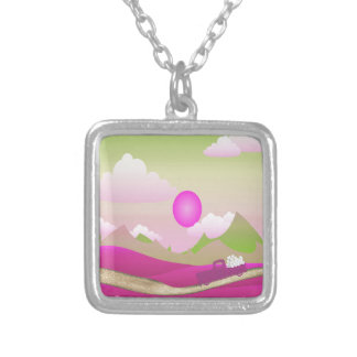 Pink Truck of White Hearts Driving on Road, Pink Silver Plated Necklace