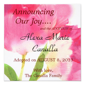 Pink Tulip Adoption Announcement Card