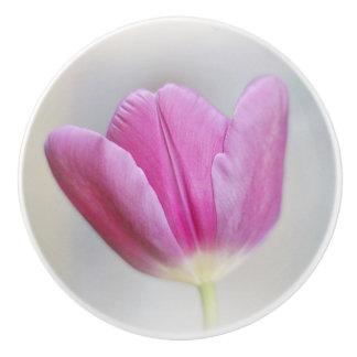 Pink Tulip Ceramic Knob