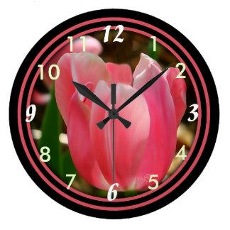 Pink Tulip Clock-b-choose size & shape Large Clock