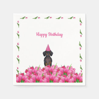 Pink Tulip Dachshund Paper Napkins