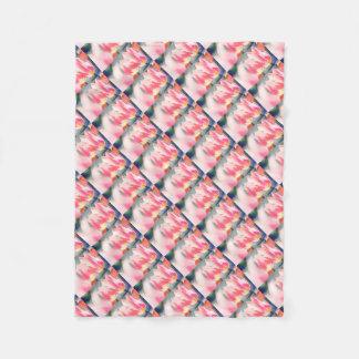 Pink Tulip Duo Sketch Fleece Blanket