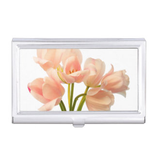 Pink Tulip Flower Peach Tulips White Floral Flower Business Card Holder