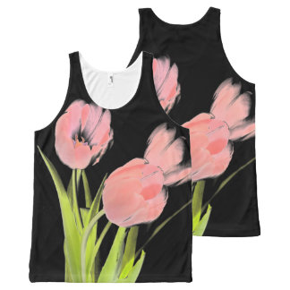 Pink Tulip  flower Retro rockabilly tank top