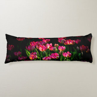 Pink tulip flowers body pillow