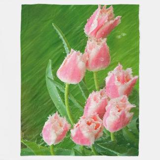 Pink Tulip Flowers Fleece Blanket