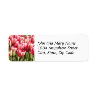 Pink Tulip Garden Floral Return Address Label