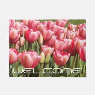 Pink Tulip Garden Floral Welcome Doormat