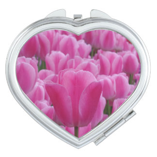 Pink Tulip  Heart Compact Mirror
