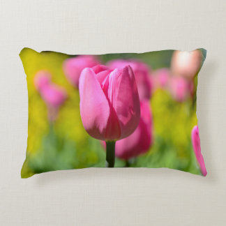 Pink Tulip in the Garden Decorative Pillow