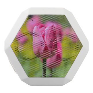 Pink Tulip in the Garden White Bluetooth Speaker