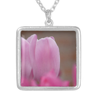 Pink tulip silver plated necklace