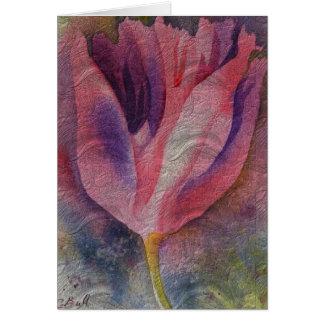 Pink Tulip Watercolor Art Floral Card