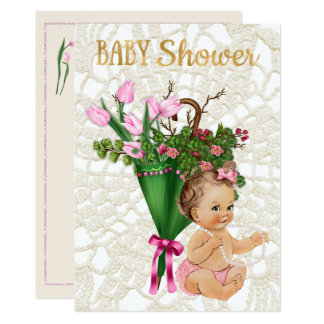 Pink Tulip with Vintage Princess Baby Girl Card