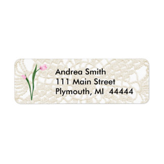 Pink Tulips and Lace Address Label