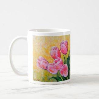 Pink Tulips Art Mug Impressionist Art Tulips Mug