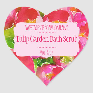 Pink Tulips Bath and Body Care Products Label