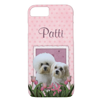 Pink Tulips - Bichon and Maltese iPhone 8/7 Case