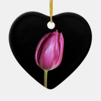 Pink Tulips Blank Background Flowers Floral Photos Ceramic Heart Ornament