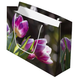 Pink Tulips Bokeh Large Gift Bag