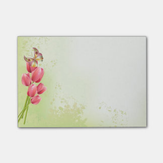 Pink Tulips & Butterfly - Sticky Pad Post-it Notes