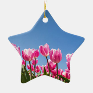 Pink tulips field with blue sky ceramic ornament