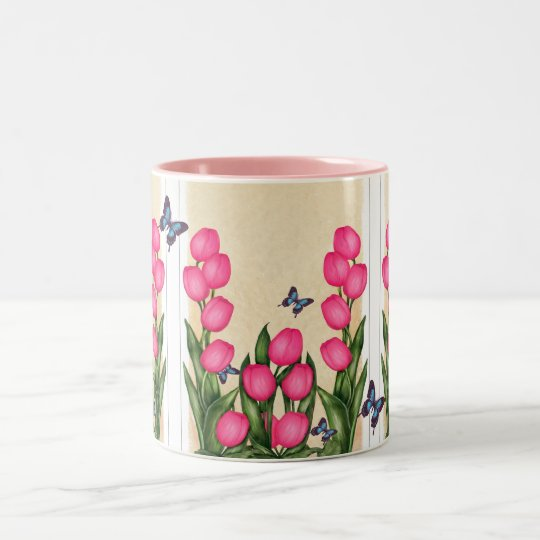 Pink Tulips Floral Mug