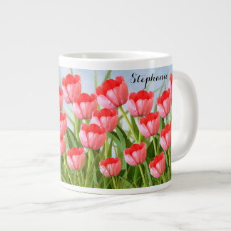 Pink Tulips Floral Photography Spring Collage Large Coffee Mug