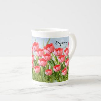 Pink Tulips Floral Photography Spring Collage Tea Cup